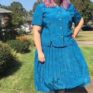 VTG 90's Abstract Skirt/Blouse Set